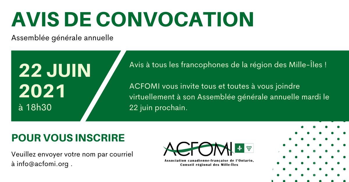 Avis de convocation de l'assemblée générale annuelle de l'ACFOMI 2021 le 22 juin 2021 à 18h30. info@acfomi.org pour toute inscription
